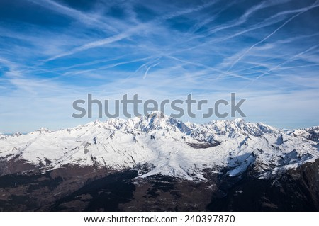 Mont Blanc in a sunny day, seen from the south side, Bourg Saint Maurice, Savoie, France - stock photo
