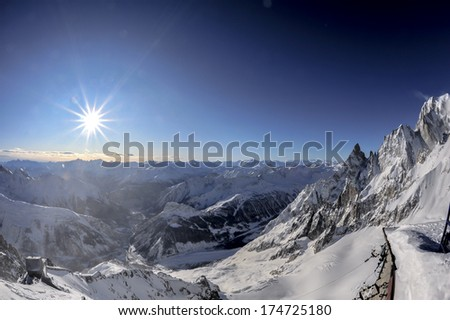 mont blanc landscape from high altitude - stock photo
