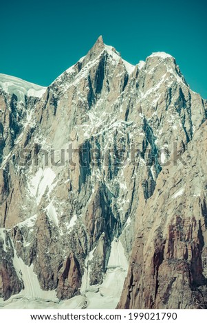 Mont Blanc massif in the French Alps,Chamonix Mont Blanc - stock photo