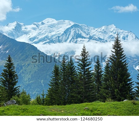 Mont Blanc mountain massif (Chamonix valley, France, view from Plaine Joux outskirts). - stock photo
