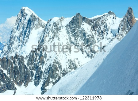 Mont Blanc mountain massif summer landscape(view from Aiguille du Midi Mount,  French ) - stock photo