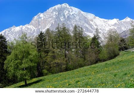 Mont Blanc - Slope Italian - stock photo