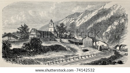 Mont Cenis railway station at Lanslebourg (railway opened in 1868 and dismantled in 1871). Created by De Bar and Cosson-Smeeton, publ. on L'Illustration, Journal Universel, Paris, 1868 - stock photo