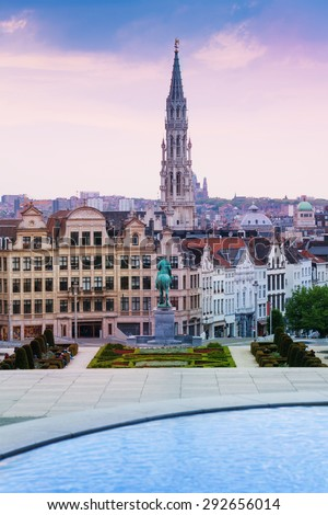 Mont des Arts Garden and Brussels panorama, Belgium - stock photo