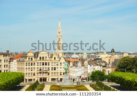 Mont des Arts point of view and a garden in Brussels in clear morning. No recognizable faces and logos. - stock photo
