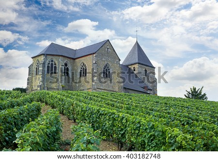Mont-Felix, Church among the vineyards near Epernay, Champagne, France - stock photo