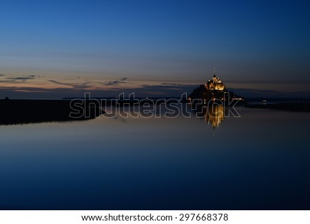Mont Saint-Michel and the bay - stock photo