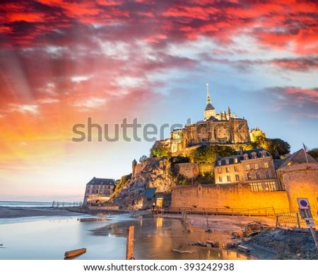 Mont Saint Michel at dusk, France. - stock photo