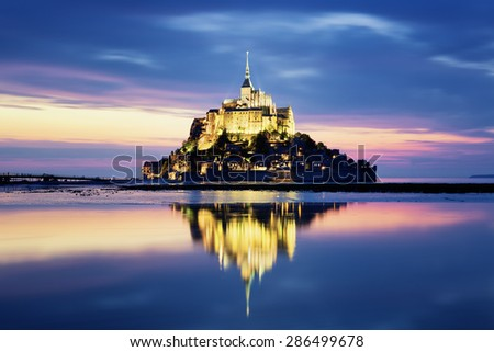 Mont-Saint-Michel by night, France, Europe. - stock photo