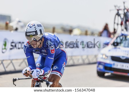 MONT SAINT MICHEL,FRANCE-JUL 10:The Brazilian cyclist Murilo Antonio Fischer from FDJ Team cycling during the stage 11 of Le Tour de France 2013, a time trial between Avranches and Mont Saint Michel - stock photo