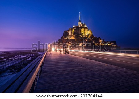 Mont Saint-Michel, Normandy, France. It's one of the most visited tourist sites in France. - stock photo