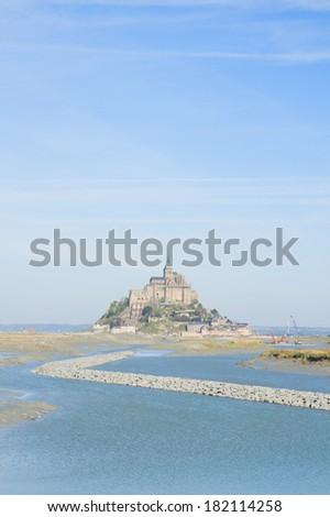 Mont Saint Michel over sea , Nirmandy, France. - stock photo