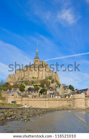 Mont Saint Michel, second most visited place in France, vertical shot - stock photo