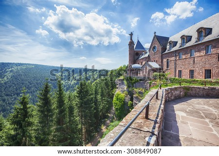 Mont Sainte-Odile Abbey in Alsace, France. Vosges Mountains.