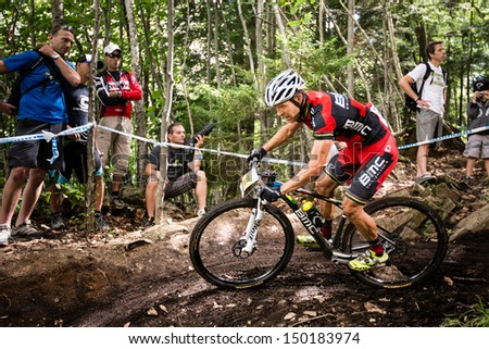 MONT STE-ANNE, QUEBEC, CANADA - August 10: Cross Country Men Elite, 4th place, SUI - NAEF Ralph, UCI World Cup on Aug. 10, 2013
