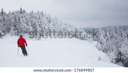 MONT-TREMBLANT, QC, CANADA - FEBRUARY 9:  A lonely skier is sliding down an easy slope at Mont-Tremblant Ski Resort on February 9, 2014. Mont-Tremblant is the best ski resort in Eastern North America.