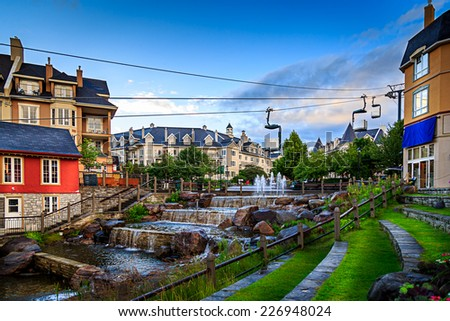Mont-tremblant village in beautiful day. - stock photo