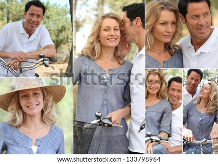 Montage of a couple with bikes in the countryside - stock photo