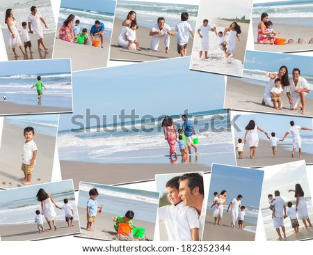 Montage of a happy Hispanic family, parents and two children boys enjoying a holiday vacation at the beach, playing and walking by the sea - stock photo