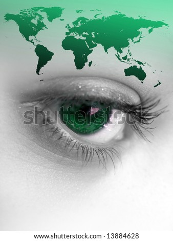 Montage of a pretty color isolated eye with the world continents.  Great image for going green.