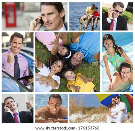 Montage of a successful working man, father and husband balancing working & family life, on cell phone, using tablet computer, at beach, swimming pool & fishing. - stock photo