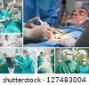 Montage of a surgery in the hospital - stock photo
