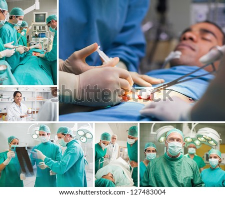 Montage of a surgery in the hospital