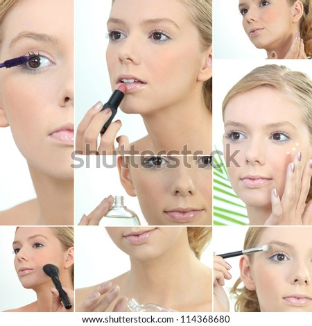 Montage of a young woman applying makeup - stock photo