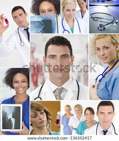Montage of an interracial successful medical team of nurses and doctors, men and women in a hospital looking at patients X-rays and blood samples