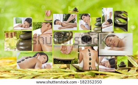 Montage of beautiful Asian & African American, interracial women, woman relaxing at a spa, enjoying massages and different hot stone treatments. - stock photo