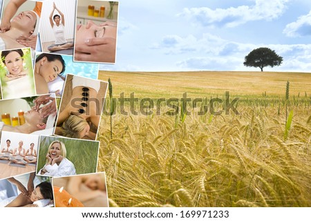 Montage of beautiful interracial women, woman relaxing at a health spa, enjoying head and back massages, hot stone treatments and practicing yoga in a gym, with a natural field and tree background.