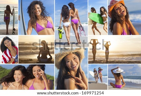 Montage of beautiful women girls at the beach surfing, surfers on vacation enjoying waves and sunrise or sunset, holding their surfboards in the summer sun - stock photo