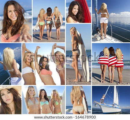 Montage of beautiful women girls summer lifestyle, surfing with surfboards on beach, sailing on yacht, partying and having fun together as friends. - stock photo