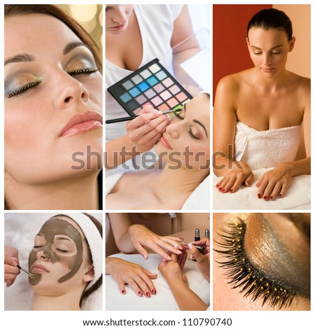 Montage of beautiful women relaxing at a health and beauty spa having their makeup and nails done - stock photo