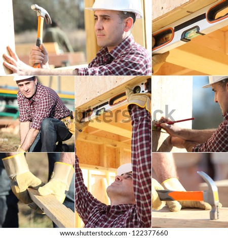 Montage of carpenter working on wooden house - stock photo