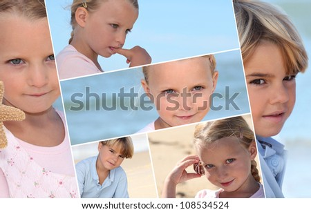 Montage of children on a beach - stock photo
