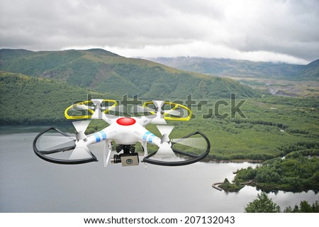Montage of drone over Coldwater Lake near Mt. St. Helens