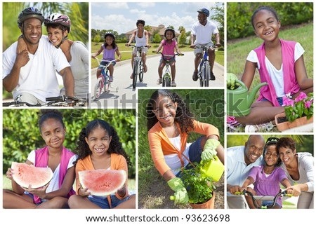 Montage of fit, happy and healthy African American family eating, gardening and cycling together - stock photo