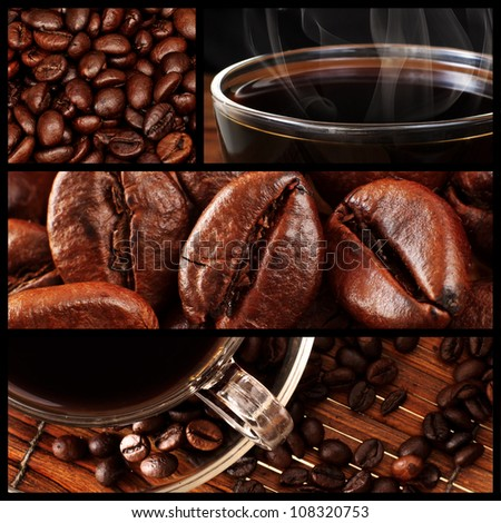 Montage of Fresh Coffee and Roasted Coffee Beans
