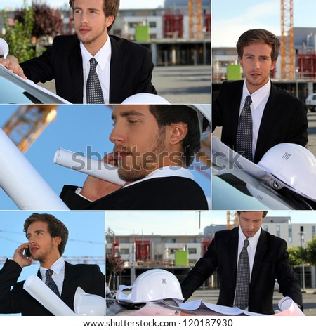 Montage of graduate architect working on site - stock photo