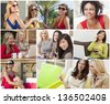 Montage of happy beautiful women, friends, shopping, using laptop computers, listening to music and talking on the phone, enjoying a modern lifestyle. - stock photo