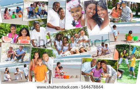 Montage of happy ethnic families and couples parents and children men women boys and girls enjoying an active lifestyle on holiday vacation, at the beach, playing games in the garden and cycling - stock photo