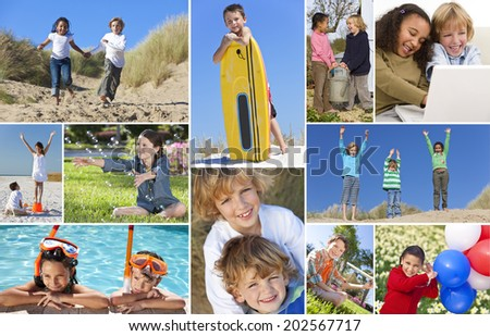 Montage of happy interracial group of children, girls and boys having fun playing in swimming pool, with balloons, at the beach, using laptop computer and gardening.