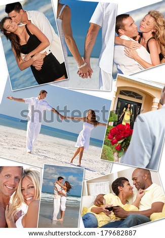 Montage of happy, romantic, interracial mixed race couples enjoying a relaxing lifestyle, at the beach embracing, holding hands, drinking wine at home in love.