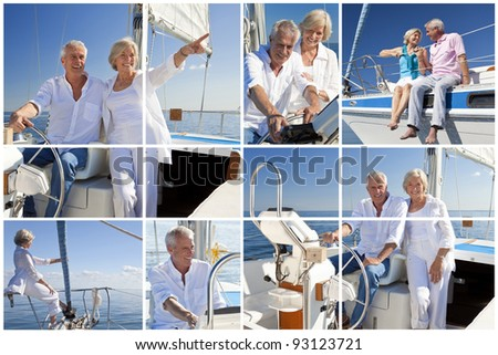 Montage of healthy retired couple steering a course for the future aboard their luxury sailing boat - stock photo