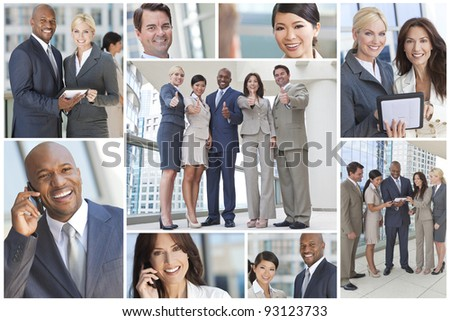 Montage of interracial group of business men and women, businessmen and businesswomen team