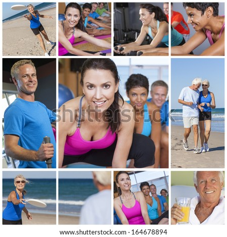Montage of interracial men, women and senior people working out at a gym, active exercising on the beach and enjoying a healthy lifestyle. - stock photo