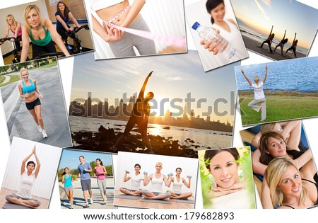 Montage of interracial men, women people working out at a gym, active exercising on the beach, yoga, jogging running and enjoying a healthy fitness lifestyle.