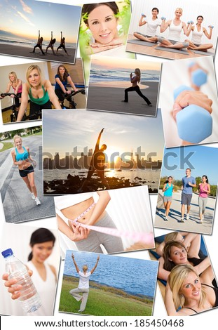 Montage of interracial men, women people working out at a gym, active exercising on the beach, yoga, jogging running and enjoying a healthy fitness lifestyle. - stock photo