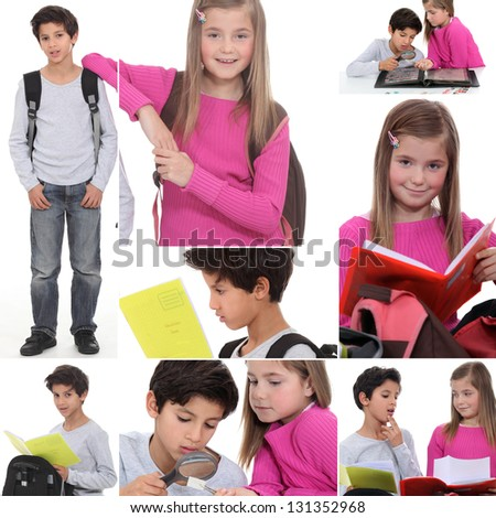 Montage of little boy and girl with rucksacks - stock photo